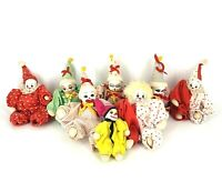 "Lot of 8 Vintage Porcelain Ceramic Face Clown Doll 8"" Sand Filled Body Rare"