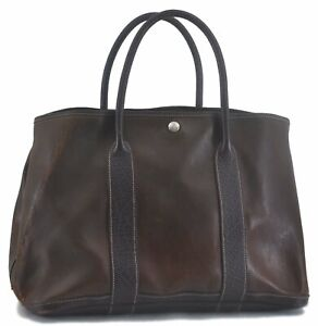 Authentic HERMES Leather Garden Party PM Shoulder Tote Bag Brown C5967