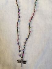 with Dragonfly Charm Handcrafted Crochet Beaded Necklace