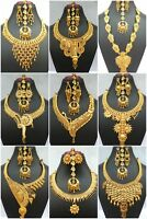Indian 22K Gold Plated Wedding Necklace Earrings Jewelry Variations tikka Set