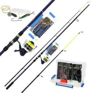 12ft Sea Fishing Rod And Reel Set Beachcaster Fishing Set Up + Tackle Box 2pc