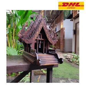 1x Thai Spirit Large House Teak Wood Buddha Collectible Temple Handcraft Wooden