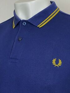 Fred Perry   Twin Tipped M3600 Pique Polo Shirt Large (Blue) Mod Scooter 60s Ska