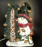 "Ceramic Lighted Snowman Holding Welcome Sign Christmas Decor 16.5"" Tall 11"" Wide"
