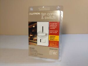 Lutron Electronics SFSQ-LFH-WH Slide-To-Off Fan Speed Control with On/Off Light,