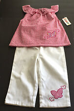 Girls Sleeveless Pullover Top Pants Set Size 4T Red and White Butterfly Trim