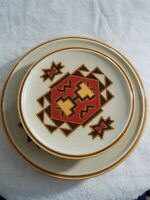 MIKASA StyleKraft 4 Set of Dinner & Salad Plates Trading Post Southwest Pattern
