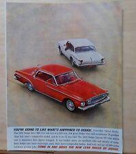1961 magazine ad for Dodge - red 1962 Dart 440 & white Lancer GT, Lean Breed