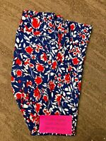 LulaRoe Leggings Blue w a Red and White Americana Floral on Micro Dots Size OS