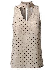 FashionOutfit Women Solid Sleeveless Turtleneck Choker Polka Dot Chiffon Blouse