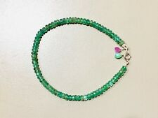 emerald gemstone bracelet may birthstone jewelry Beaded faceted gems 18k gold
