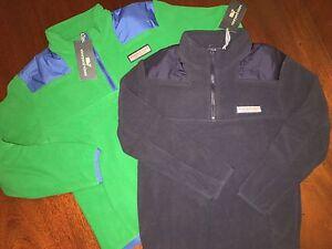 NWT Vineyard Vines Fleece Pullover M 12/14 Green or S 8/10 Navy