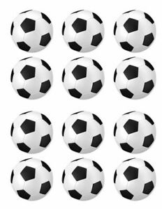 Footballs Edible Icing, Cup Cake Toppers 12 x 2 inches