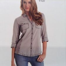 ELAN Button Shirt 3/4 Sleeve  Acid Wash Apprearance Ribbed Paneling/Color Sand