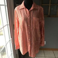 Lauren Ralph Lauren Bright Orange White Striped 100% Linen Career Dress Blouse S