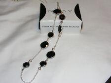 """NIB 2012 AVON Silvertone Black Color Accented 25-28"""" Chain Necklace AV6"""