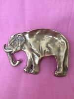 Vintage Solid Brass Elephant Pin Trinket Or Change Dish Collectible