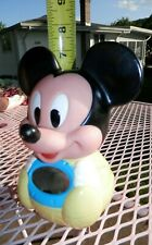 """New listing Baby Mickey Mouse Disney 1984 Yellow Chime Roly Poly Baby Toy Mirror 7"""" vintage"""