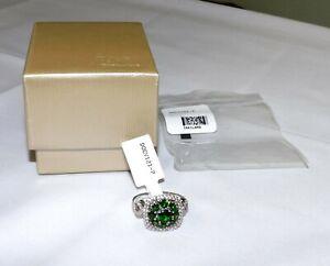 JTV Russian Chrome Diopside & White Zircon Sterling Ring NEW Size 7 DOCV121