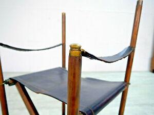 Klappstuhl, Safari Stuhl, Safari Chair - Holz & Leder - Antik Midcentury