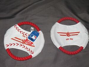 """sh3 TWO HUNTER DOGGY RED SOX SPORT ROPE DISC DOG TOY 9"""" BASEBALL MLB AUTHENTIC"""