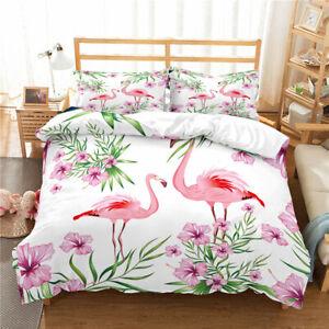 Hawaii Flamingo Flower Bedding Set Duvet Cover Comforter Cover Pillow Case