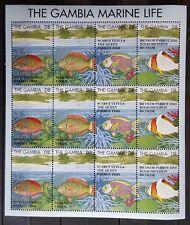 F66.Briefmarken Fische 1995 Gambia Kb.,postfrisch