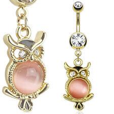 "14kt Gold Plated Navel Ring with Cat's Eye Gemmed Owl Dangle,14GA, 3/8""  (13218)"