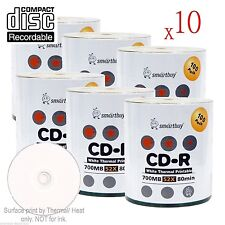 6000-Pack SmartBuy CD-R 52X 700MB/80Min White Thermal Hub Printable Record Disc