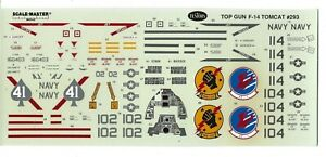 Loose, Testors TOP GUN (MOVIE) F-14 TOMCAT Decals 1/48, VF-41, #293 No Instr