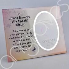 Special Sister Memorial Glass Mirror Photo Frame Tribute Memorial Plaque