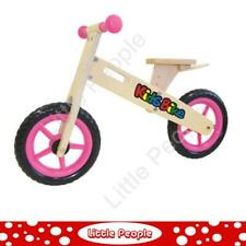 Girls Pink Wooden Balance Bike Solid Wheels Adjustable Seat Rubber Kids Toys