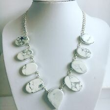 Howlite & Silver SINGLE CLUSTER Necklace 18cm Gemstone Jewellery