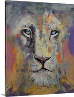 White Lion Canvas Wall Art Print, Lion Home Decor