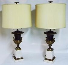 Beautiful Vintage STIFFEL Marble Bronze Finished EMPIRE Urn Cluster Socket Lamps