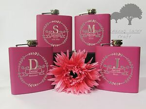 Personalised Engraved 6oz Pink Hip Flask. female wedding gift Box M1