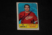 TED HAMPSON 1967-68 TOPPS SIGNED AUTOGRAPHED CARD #108 RED WINGS