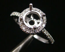 Round 6.5mm 14Kt White Gold 0.30Ct Diamond Setting Engagement Semi-Mount Ring