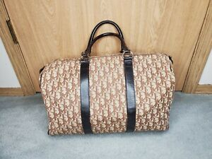Christian Dior Vintage Brown Canvas & Leather Monogram Duffle Bag made in France