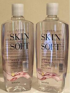 2 Bottles Avon Skin So Soft Soft & Sensual Bath OIl Bonus Size 25 Fl Oz Unopened