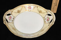 Nippon M Bowl Plate Decorative Hand Painted Porcelain Handles Gold Vintage 7""
