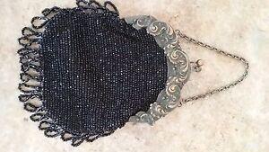 Purse Victorian or older black glass beads Very good no monogram
