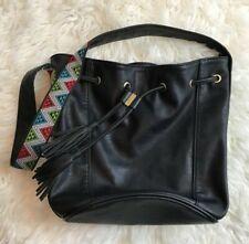 Steve Madden Shoulder Hobo Bag Black Aztec Gold Zip Tassle Closure Pockets