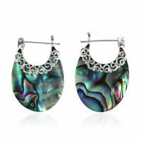 Sterling 925 Silver Abalone Shell Hoops Hoop Earrings Gift Jewelry for Women