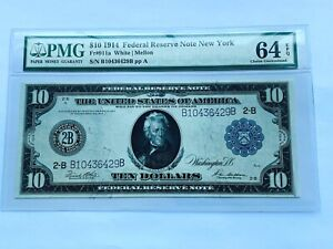 1914 $10 Federal Reserve Note New York  Fr. 911a PMG 64EPQ - Choice Uncirculated