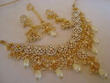 bollywood temple jewellery gold tone stone pearl necklace set ,earring &tikka