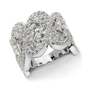 HSN Jean Dousset 3.69 ct Cubic Zirconia 14K White Gold Over Band Ring Size 8