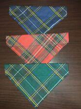 Slide on dog bandanas size M. Checked red navy green. 3 Pack viscose handmade