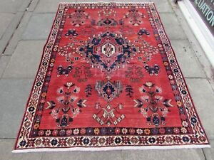 Shabby Chic Worn Vintage Hand Made Traditional Red Wool Large Rug 211x151cm