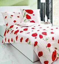 Kaeppel Seersucker Bettwäsche 135 x 200cm Papavero Mohn Weiß Rot Baumwolle